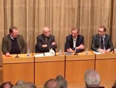 Die Buchvorstellung von Karl Dörings (Mitte links) Autobiografie im Haus der Russischen Wissenschaft und Kultur Berlin, Moderation Matthias Platzek (Mitte rechts)